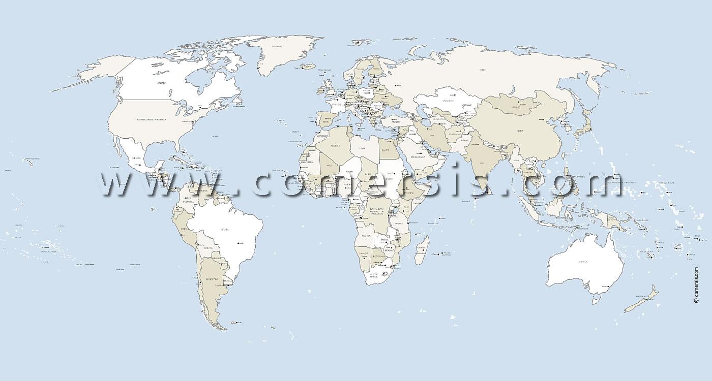 Des Pays Du Monde Vectorielle Avec Capitales destiné Carte Du Monde Avec Capitales Et Pays