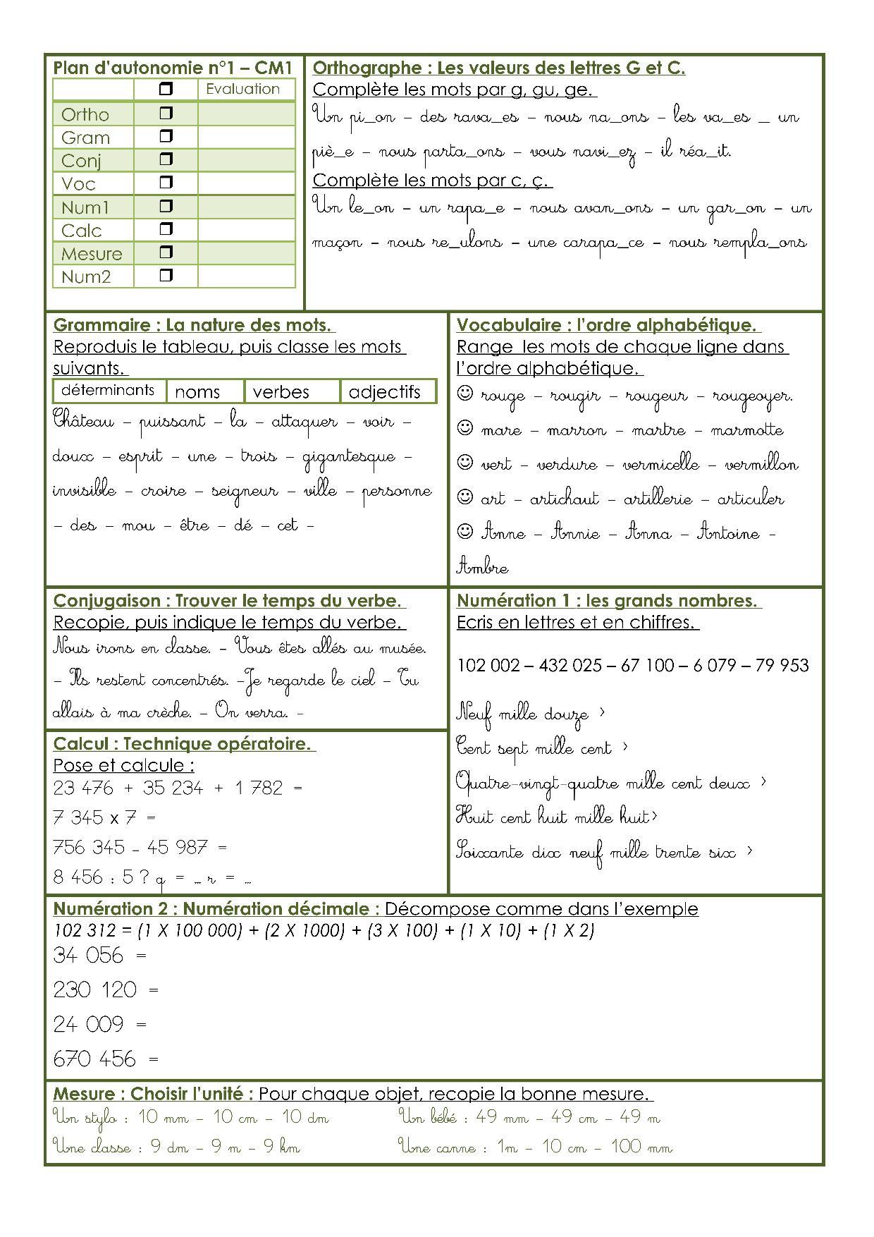 Des Plans D'autonomie Cm1/cm2 – Chez Madame Têtard à Exercice Cm1 Conjugaison À Imprimer