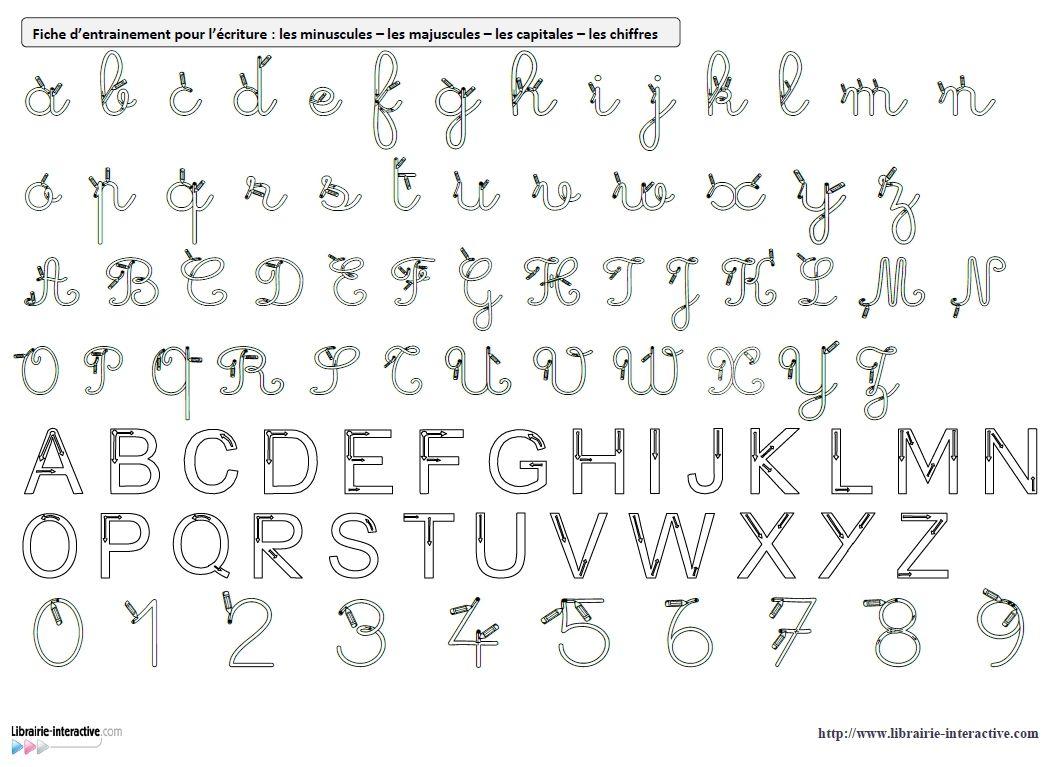 Des Référents A4 Avec Les Modèles D'écriture (Cursives à Écriture Des Lettres Majuscules