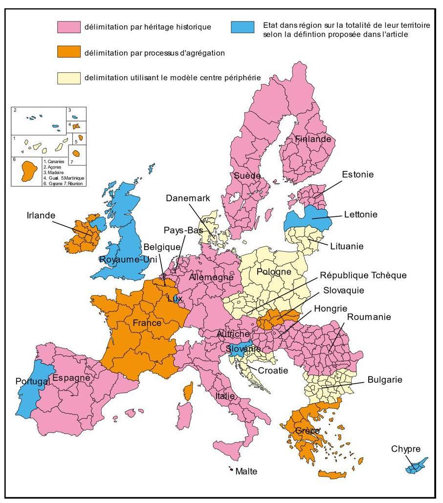 Des Régions Territoriales Aux Régions Fonctionnelles, Une avec Tout Les Pays De L Union Européenne Et Leur Capital