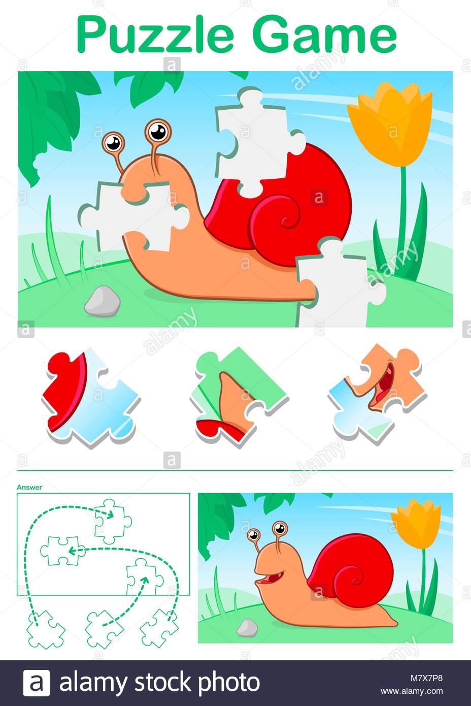 Dessin Animé Pour Enfants Jeu De Puzzle Avec Escargot Rouge destiné Jeux De Puzzle Enfant