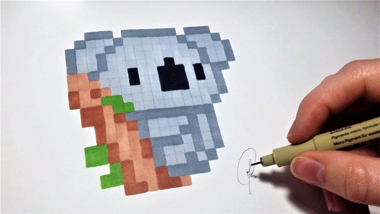 Dessin Koala - Pixel Art (Facile) tout Pixel Art Facile Fille