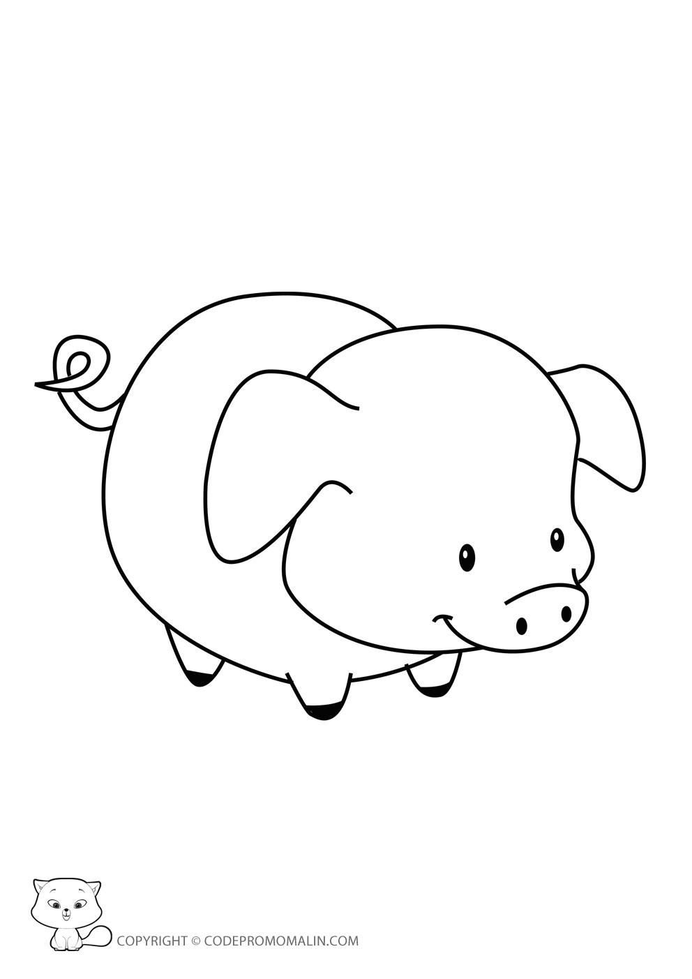 Dessin Un Petit Cochon Pendu Au Plafond à Dessin À Colorier Cochon