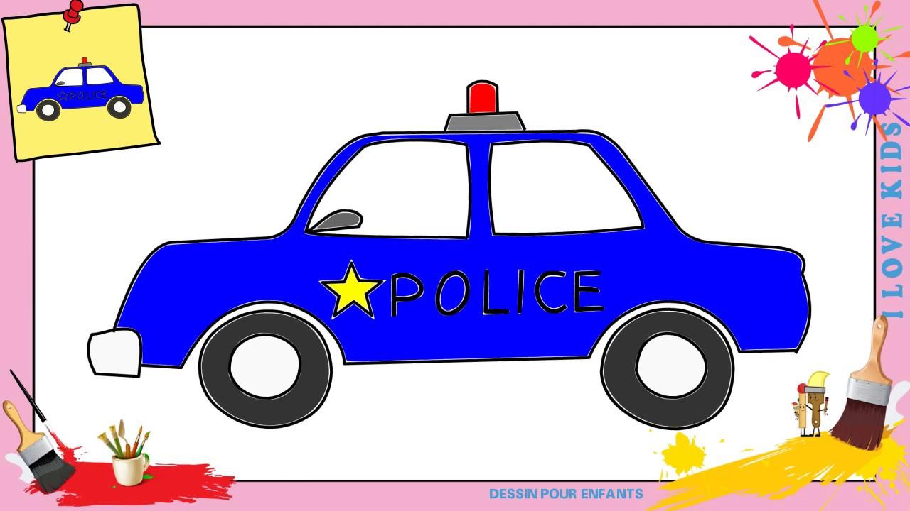 Dessin Voiture De Police - Comment Dessiner Une Voiture De Police  Facilement Pour Enfants destiné Voiture Facile À Dessiner