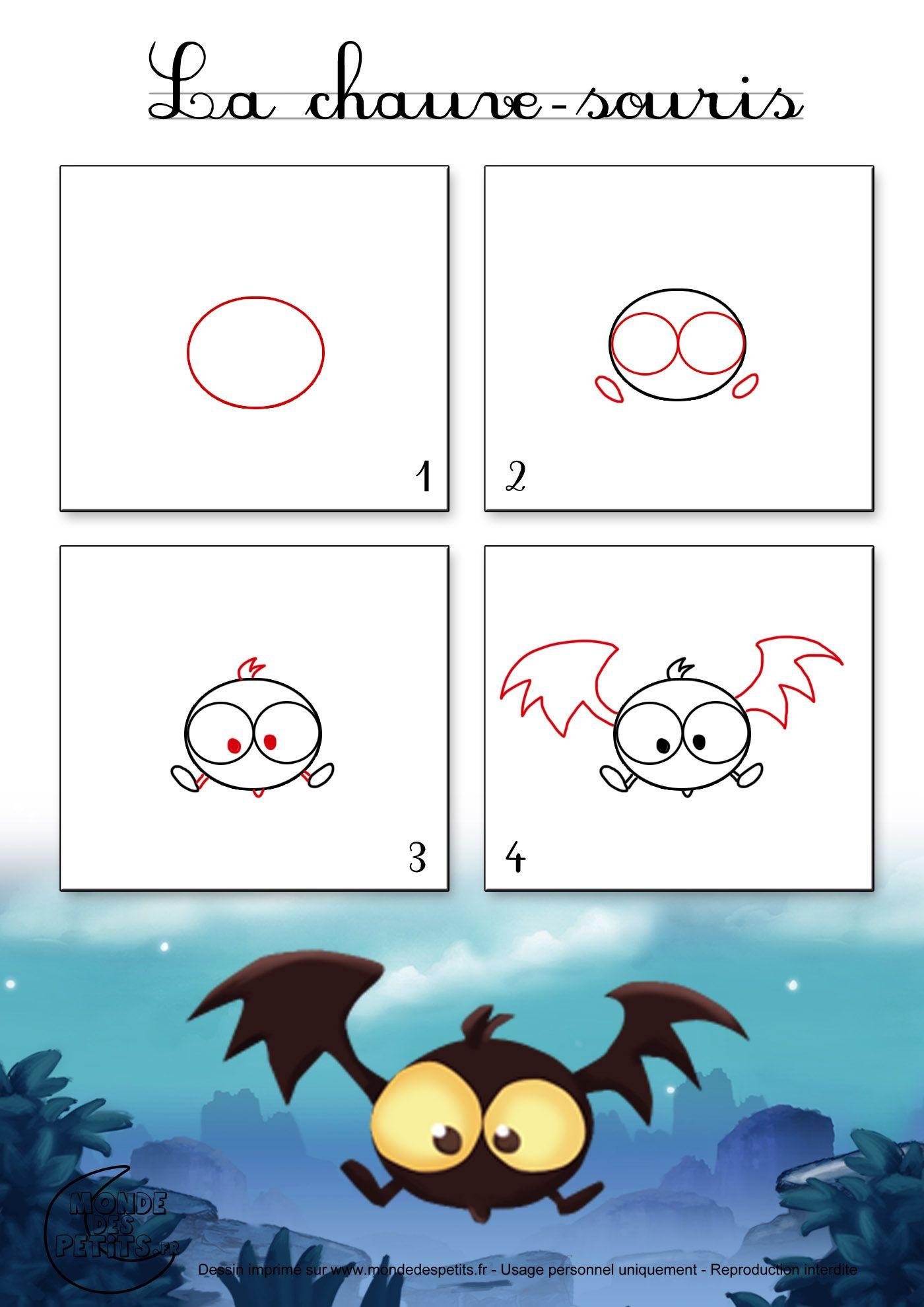 Dessin1_Comment Dessiner Une Chauve-Souris D'halloween destiné Apprendre À Dessiner Halloween