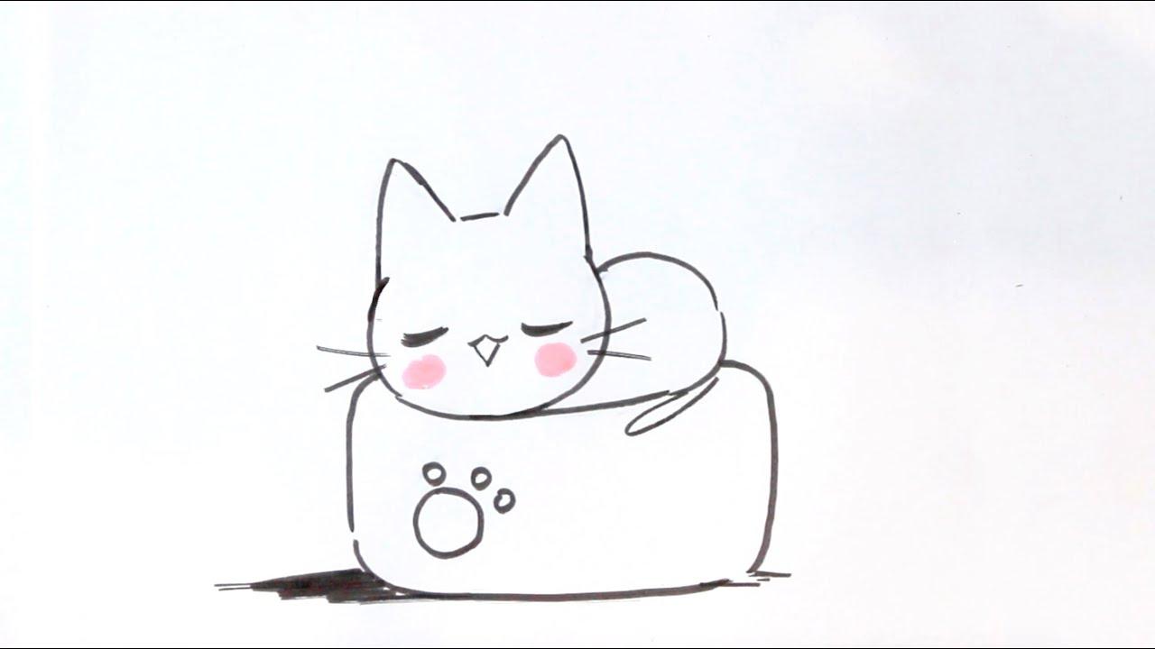 Dessiner Un Chat Facilement #7 - Dessiner Un Chat Kawaii Sur Un Oreiller  Japonais - Méthode Facile dedans Jeux De Dessin De Chat