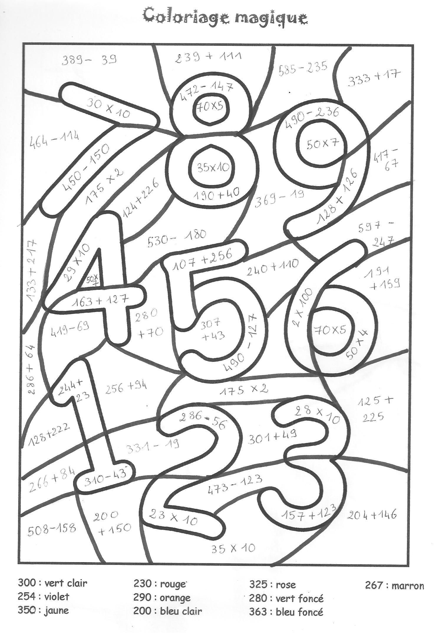Dessins Gratuits À Colorier - Coloriage Magique Addition À destiné Coloriage Magique A Imprimer Ce2 Gratuit