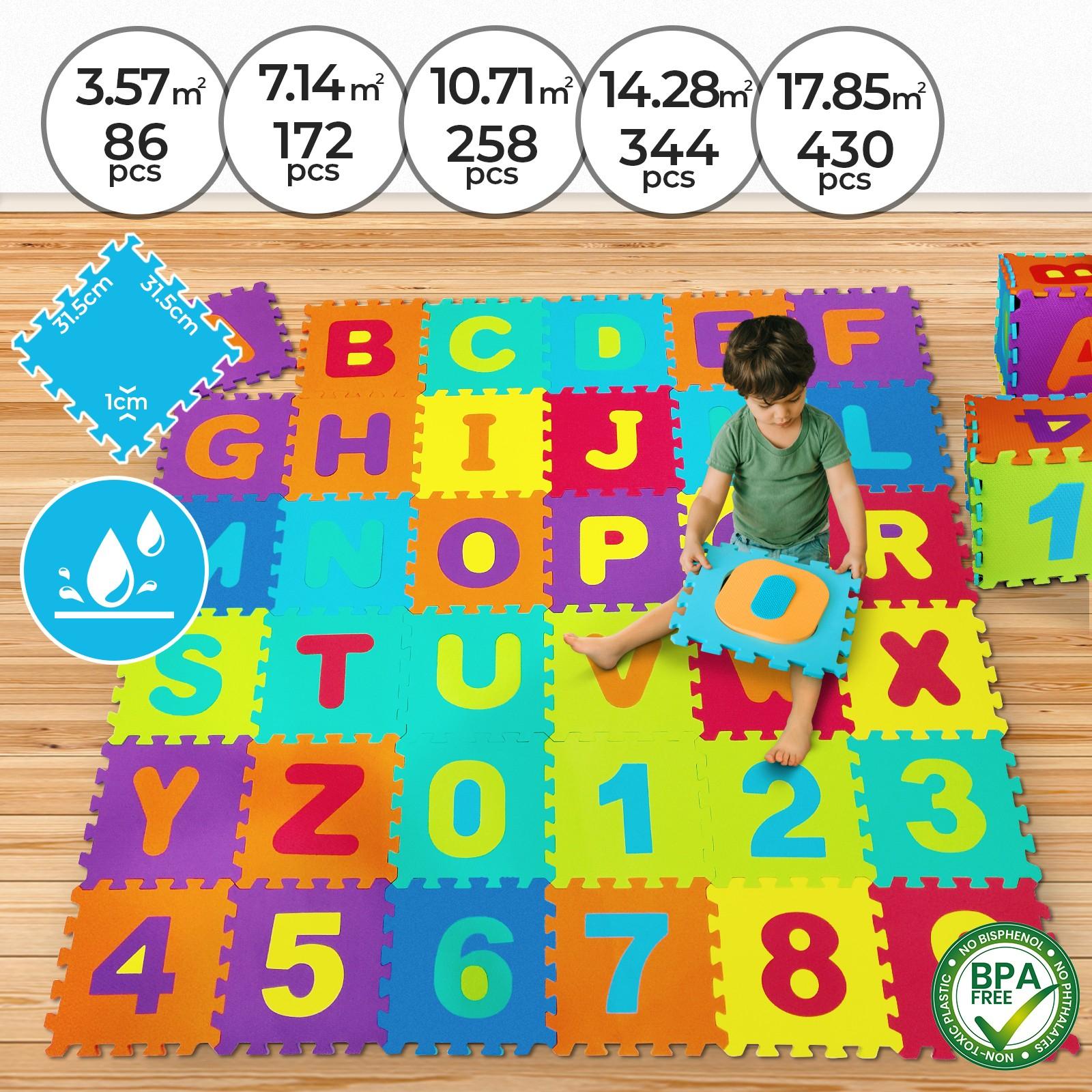 Détails Sur Dalles Puzzle En Mousse Eva Tapis De Jeu Sol Pour Bébé Enfant  86 - 430 Pièces avec Chiffre Pour Enfant
