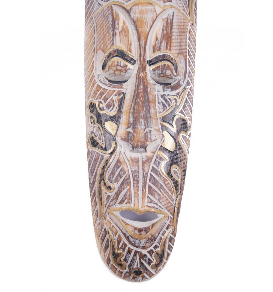 Détails Sur Masque Africain 50Cm En Bois Blanchi, Motif Gecko Noir Et Or. intérieur Masque Afriquain