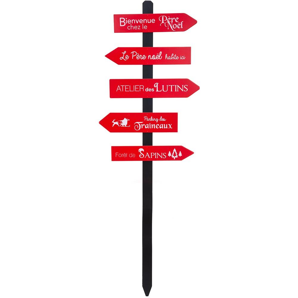 Détails Sur Pancarte Noël Flèches Bois Rouge 120Cm dedans Fleche Pour Sapin De Noel