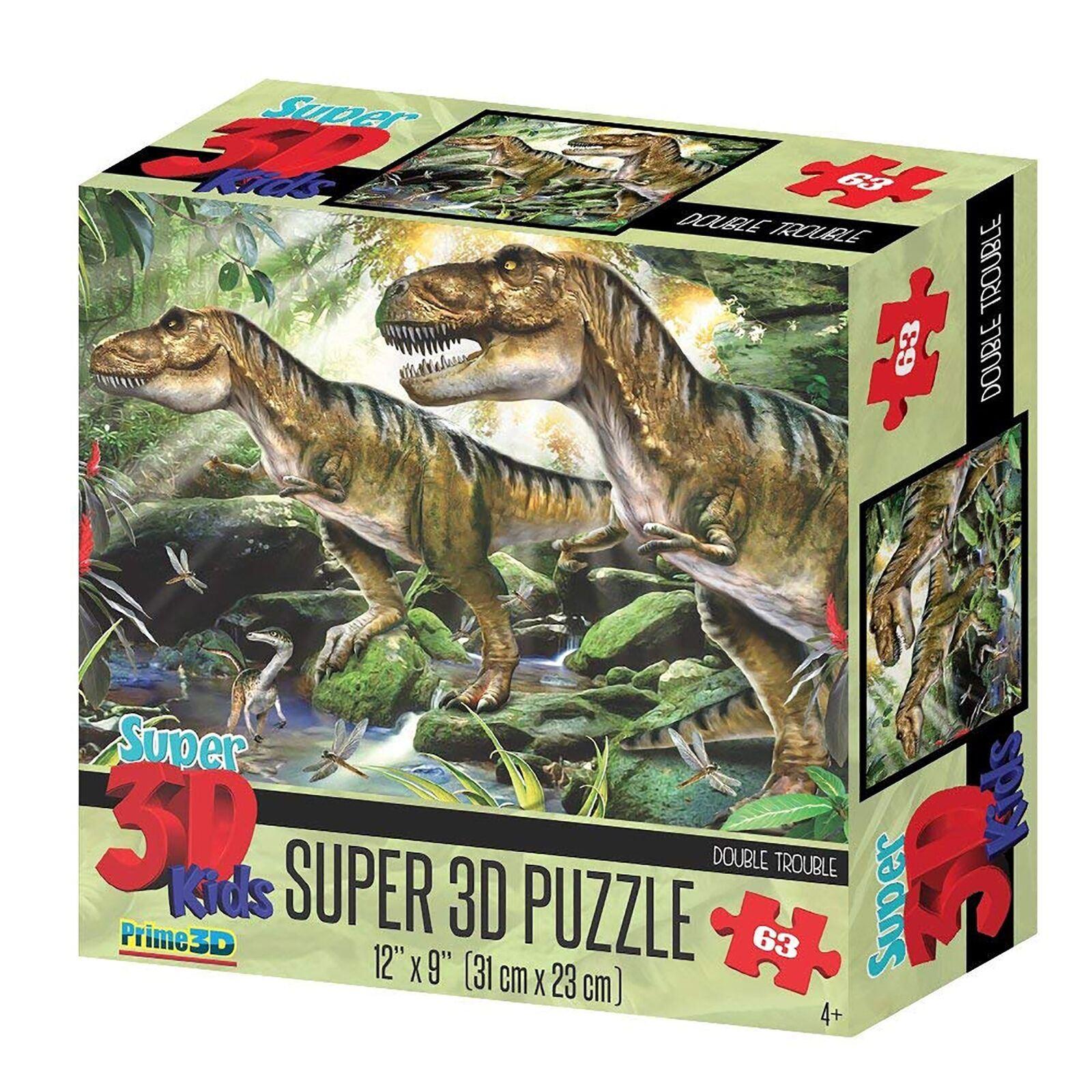 Détails Sur Prime 3D Puzzles Lenticulaire Image Animaux 63 Pièces - Double  Trouble Dino avec Puzzle En Ligne Facile
