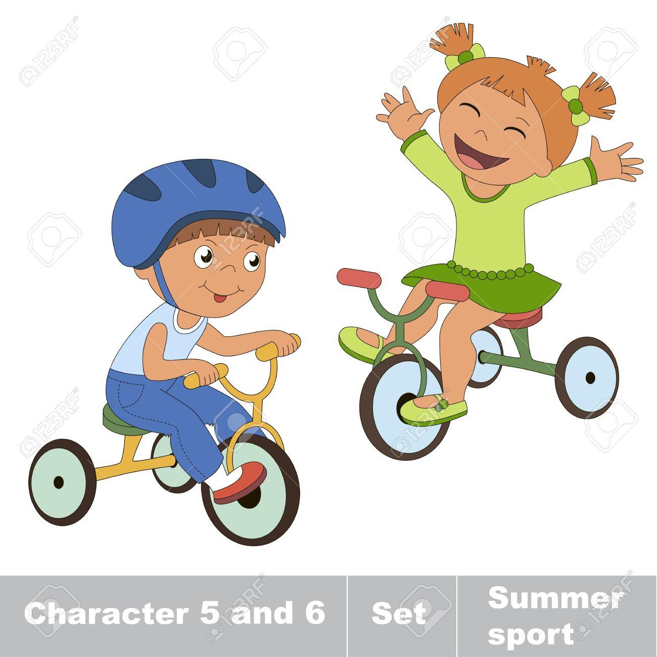 Deux Bébé Garçon Et Une Fille Faire Du Vélo. Été Les Jeux De Plein Air Pour  Les Enfants. Enfants Sports D'été. concernant Jeux Pour Garçon Et Fille