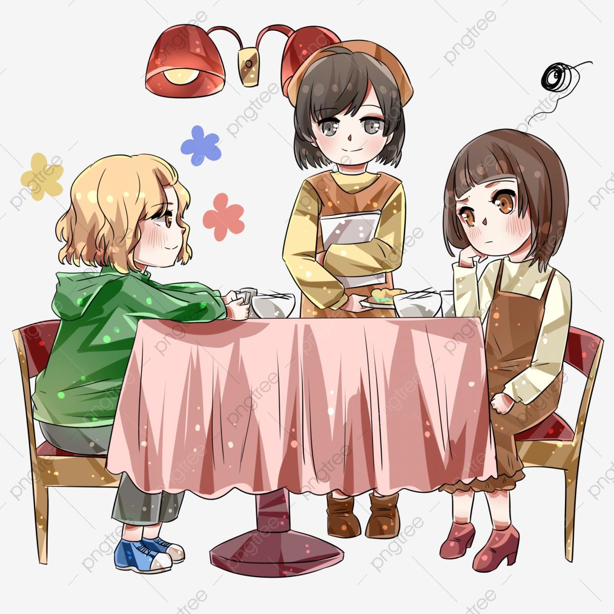 Deux Filles Mangent Au Restaurant Serveur Servant La destiné Jeux De Fille De Telephone