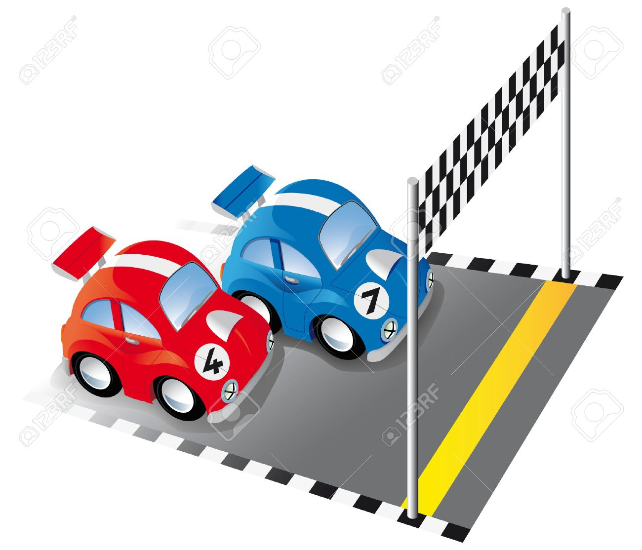 Deux Voitures De Course Drôle Sur La Piste De Course Avec Ligne D'arrivée  Et Le Drapeau À Damiers destiné Course Voiture En Ligne