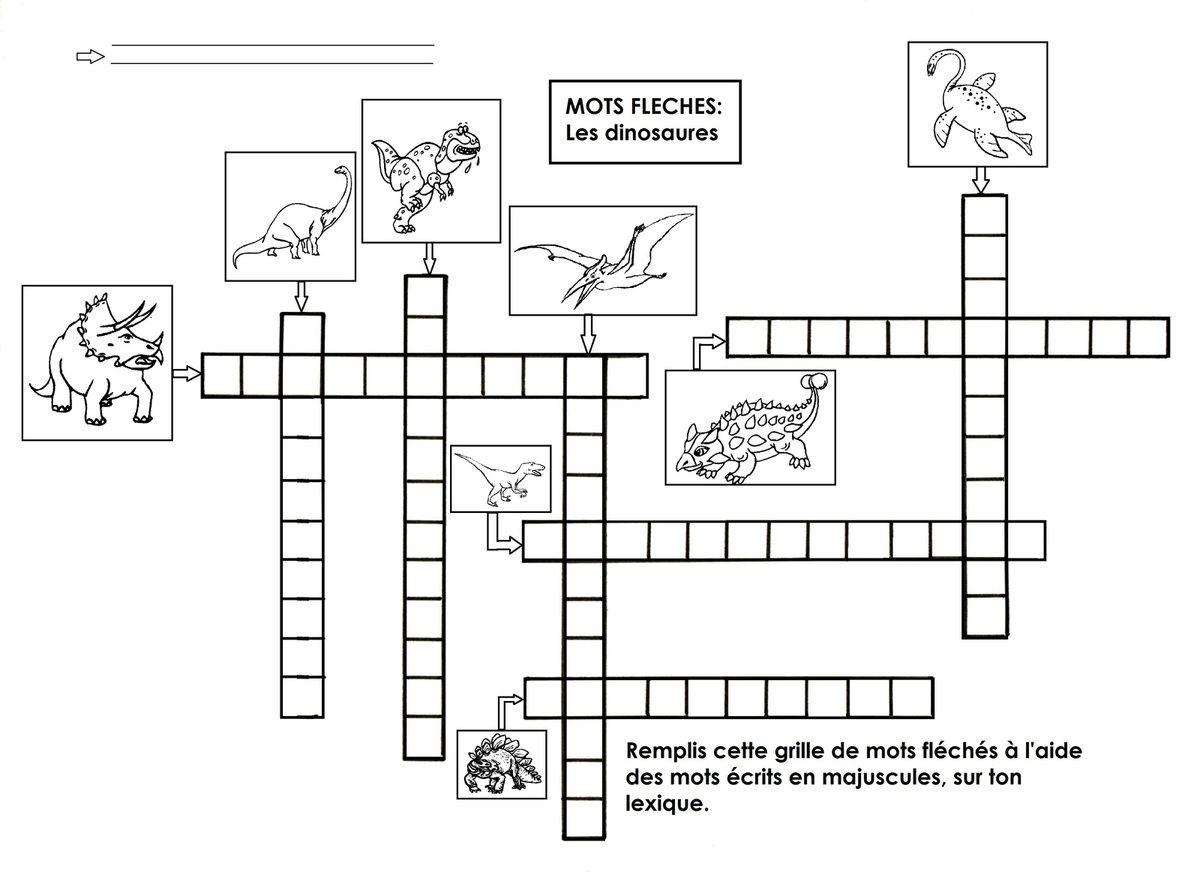 Dinosaures, Mots Fléchés | Dinosaure, École Maternelle Et dedans Mots Croisés Maternelle