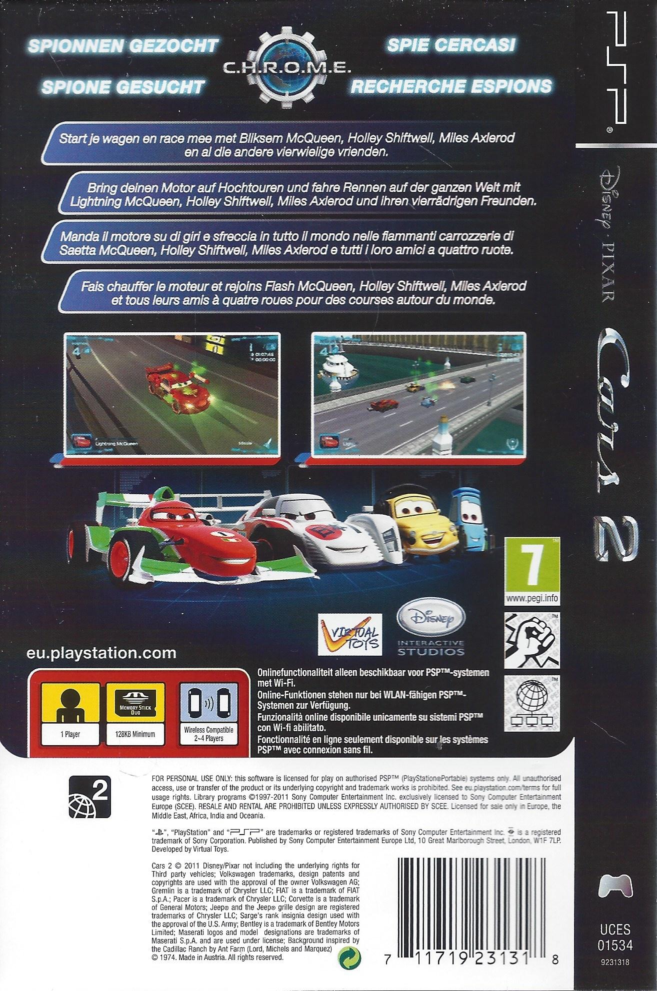 Disney Pixar Cars 2 For Playstation Portable Psp - Passion tout Quatres Image Un Mot