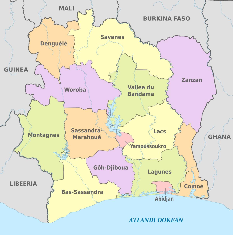 Districts Of Ivory Coast - Wikipedia avec Le Nouveau Découpage Des Régions