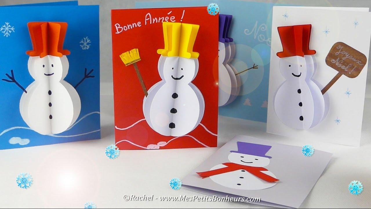 Diy Carte 3D Bonhomme De Neige En Volume - Gabarit Et Tuto pour Cartes De Noel Maternelle