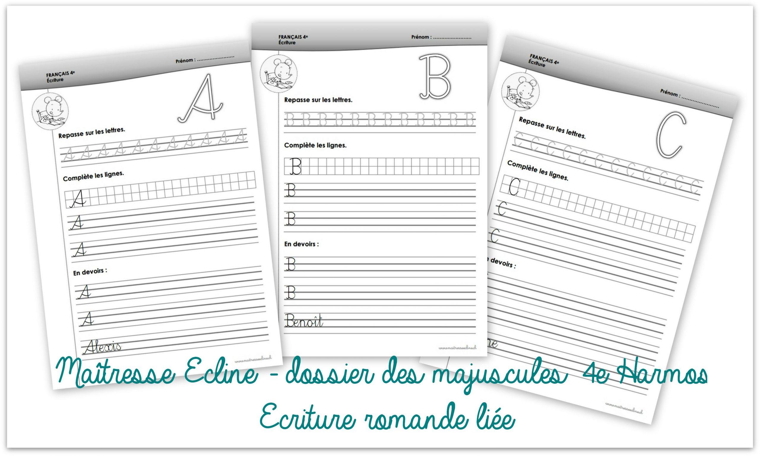 Dossier D'écriture Des Majuscules - 4E Harmos - Chez à Ecriture En Majuscule