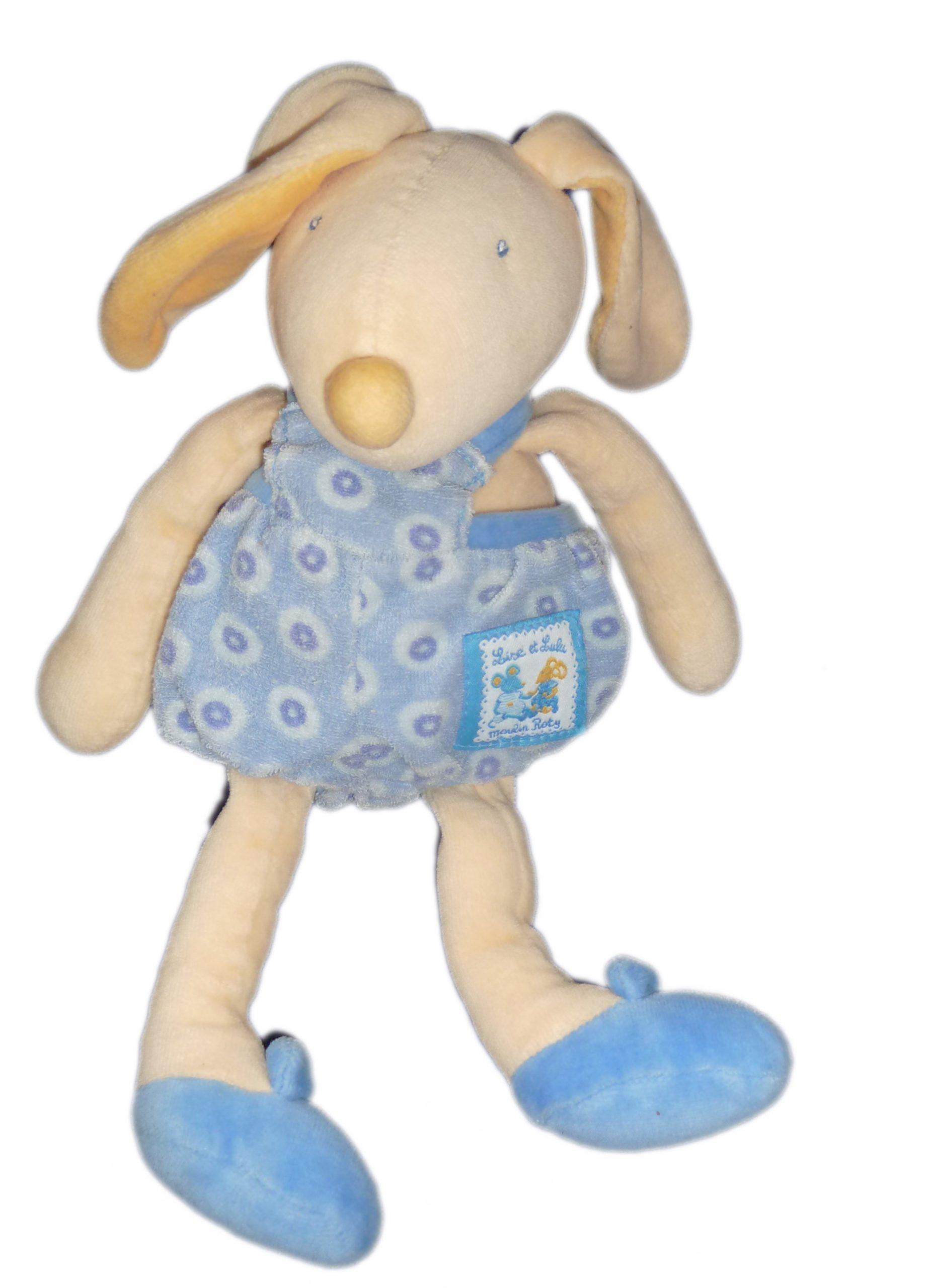 Doudou Lapin Bleu Jaune - Moulin Roty - Lise Et Lulu - H 26 Cm dedans Lapin Lulu