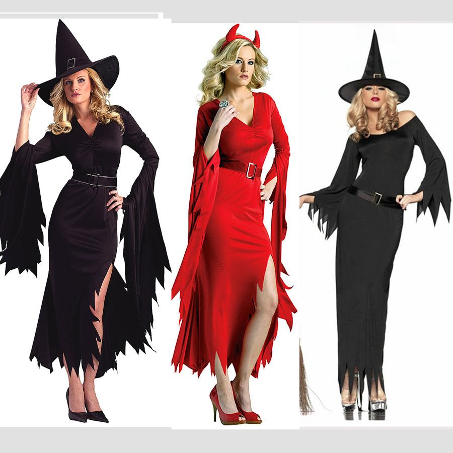€19.96 5% De Réduction|Livraison Gratuite Fête D'halloween Y Femmes  Adultes Noir Rouge Diable Vampire Gothique Fantôme Sorcière Robe Costume à Image De Sorcière Gratuite