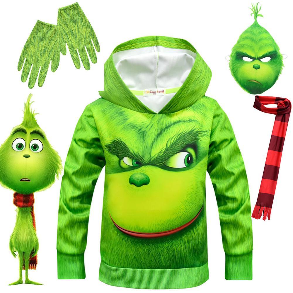 €5.54 42% De Réduction|2019 Noël Vert Grinch Plein Visage 3D Vêtements  Veste À Capuche Pour Enfant T Shirt Garçon Dessin Animé Sweat Enfants Jouer  Jeu dedans Jeux De Vetement Pour Garçon
