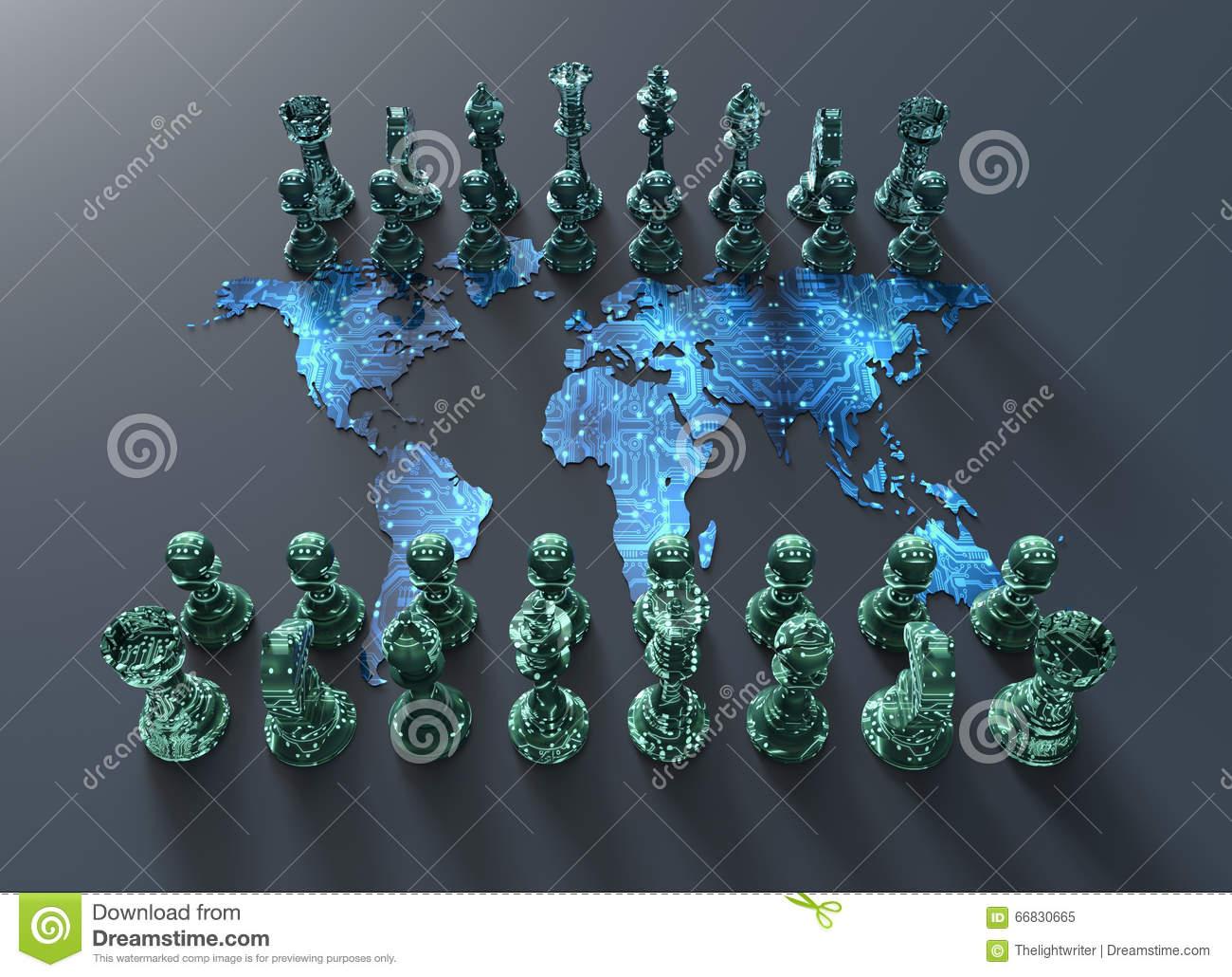 Échiquier De Carte Du Monde De Digital Avec Le Jeu D'échecs dedans Jeux De Carte Geographique Du Monde