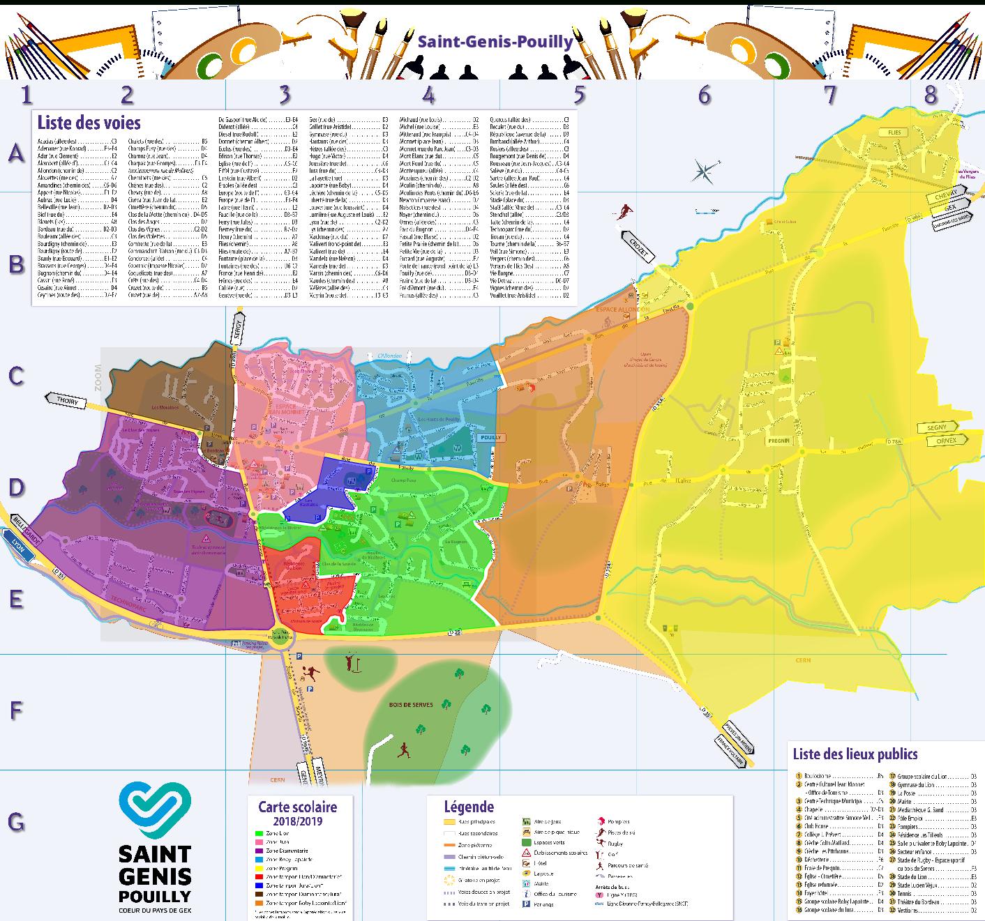 Ecoles Maternelles Et Élémres   Saint-Genis-Pouilly dedans Carte De France Ce1