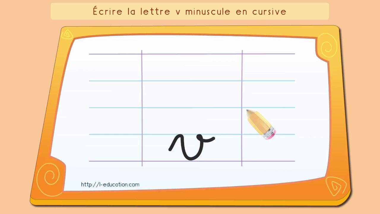 Écrire L'alphabet: Apprendre À Écrire La Lettre V En Minuscule En Cursive concernant Apprendre Les Lettres Maternelle