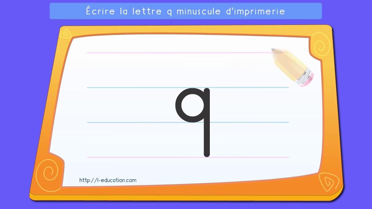 Écrire L'alphabet Script: Apprendre À Écrire La Lettre Q intérieur L Alphabet Minuscule