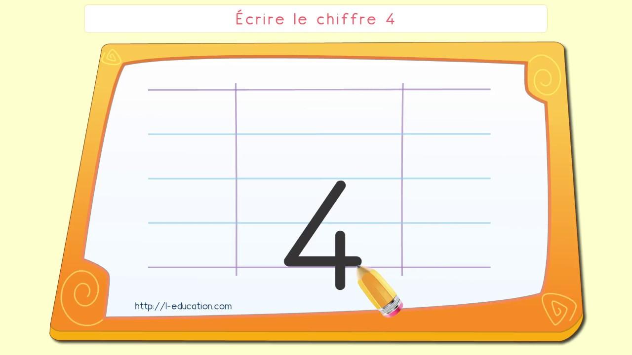 Écriture Des Chiffres - Écrire Le Chiffre 4 destiné Apprendre Les Chiffres En Lettres Cp