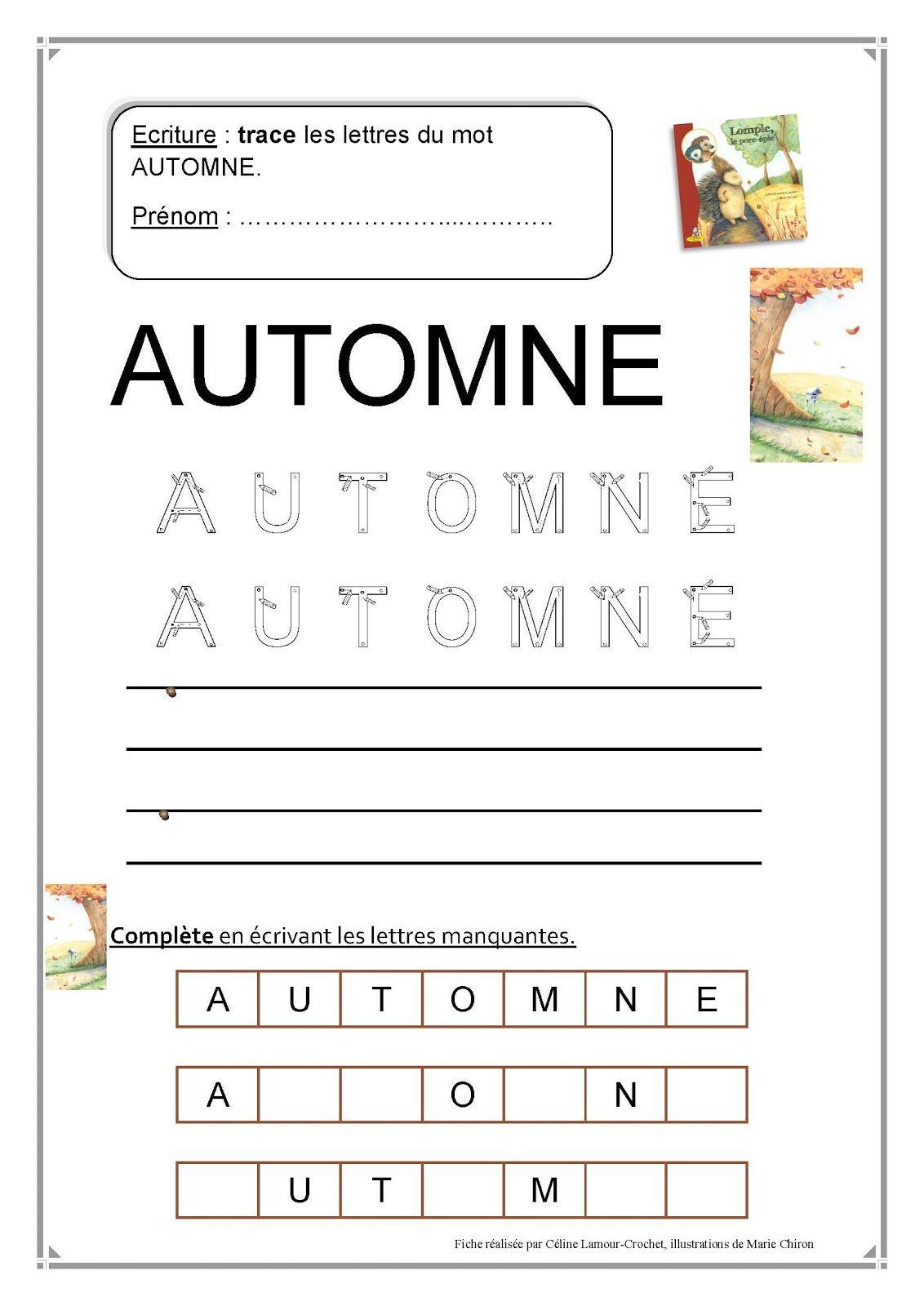 Écriture+Automne 1 132 × 1 600 Pixels | Activités encequiconcerne Cours Moyenne Section Maternelle