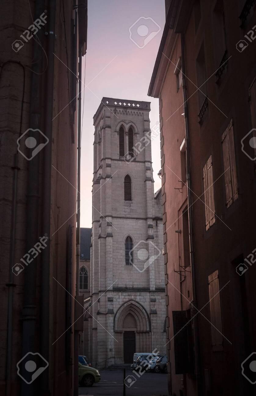 Eglise Saint Jean Baptiste Church At Dusk In Bourgoin Jallieu,.. destiné Departement 12 En France