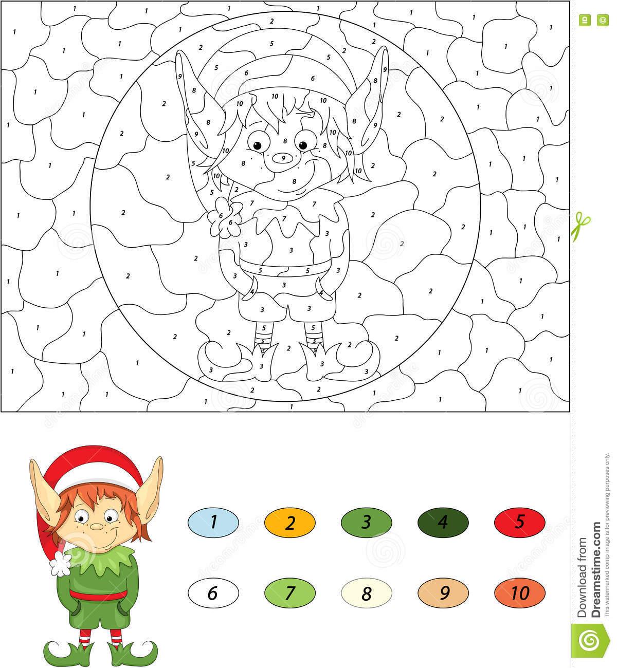 Elfe De Noël Couleur Par Le Jeu Éducatif De Nombre Pour Des dedans Jeu Noel Maternelle