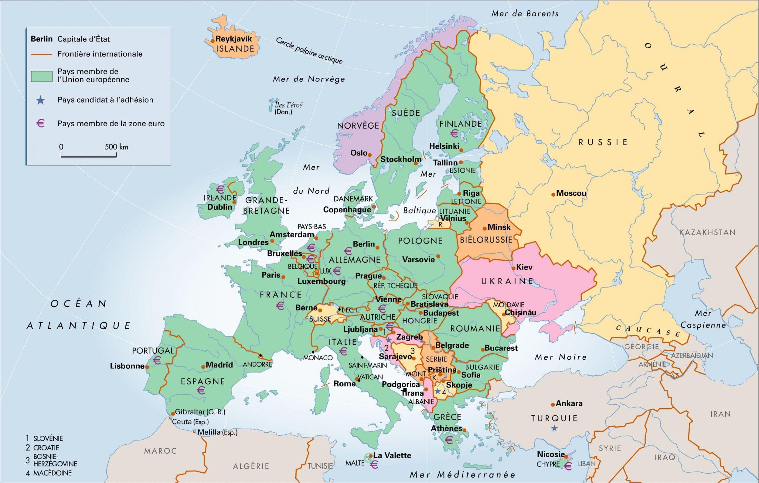 Encyclopédie Larousse En Ligne - Europe Et Union Européenne destiné Capital De L Union Européenne