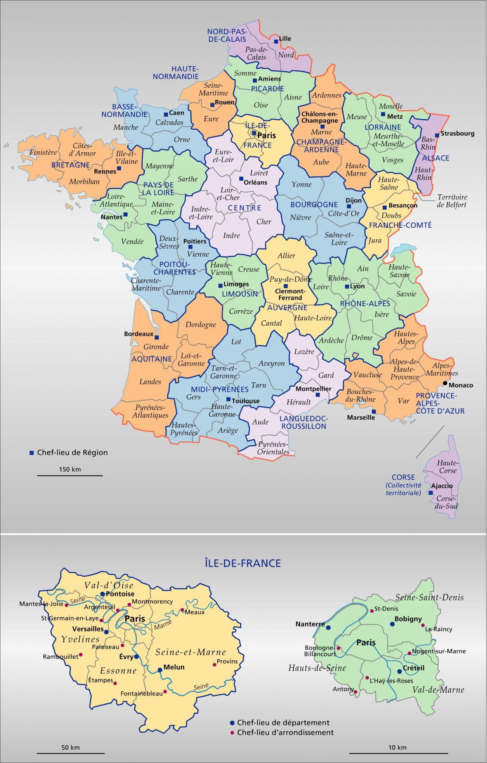 Encyclopédie Larousse En Ligne - France : Régions Et encequiconcerne Departement Et Chef Lieu