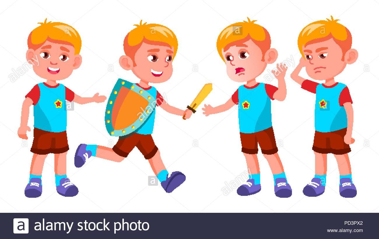 Enfants De Maternelle Garçon Pose De Vecteur. Jeu De tout Jeux De Vetement Pour Garçon