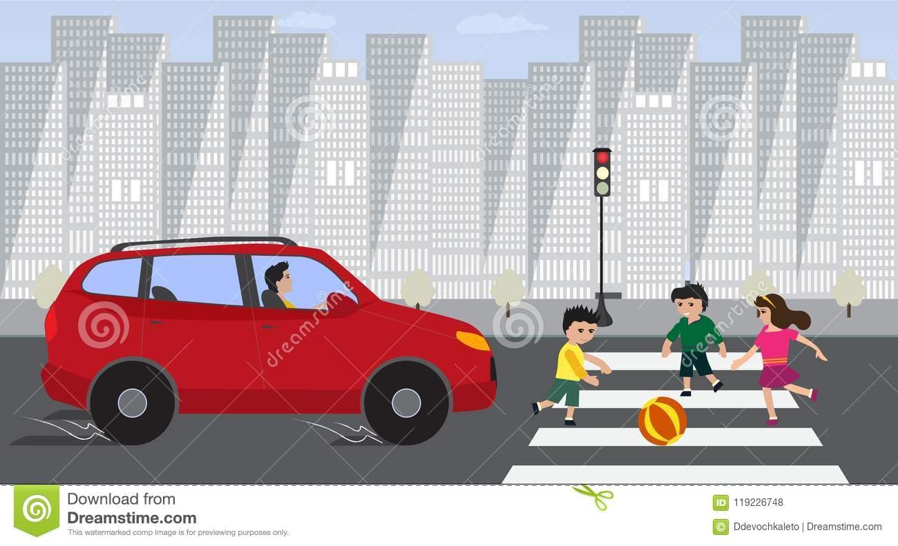 Enfants Traversant La Route Avec La Voiture Rouge Sur Le Feu serapportantà Jeux De Voiture Avec Feu Rouge