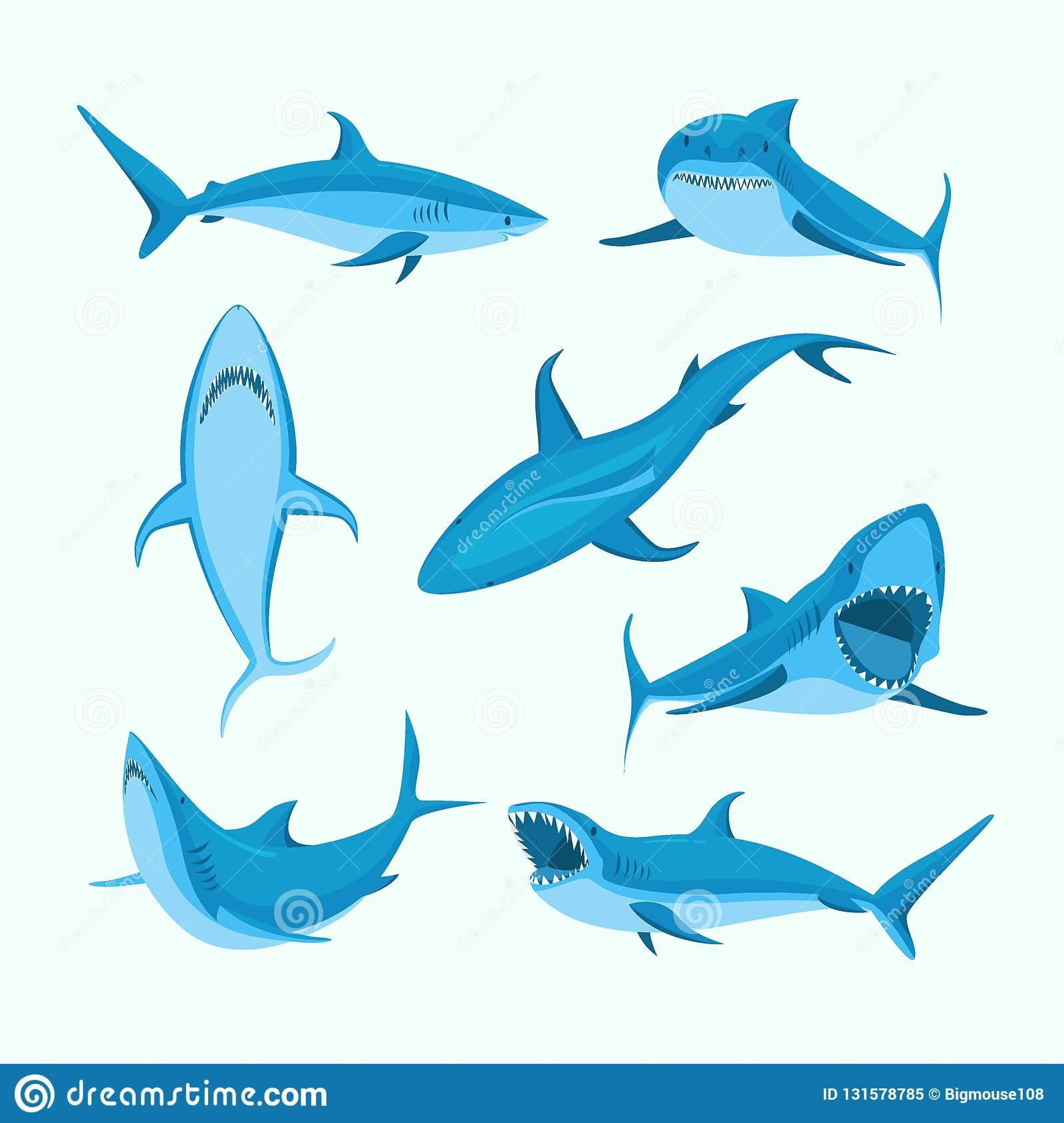 Ensemble Bleu D'icône De Signe De Requin De Caractères De concernant Requin Souris