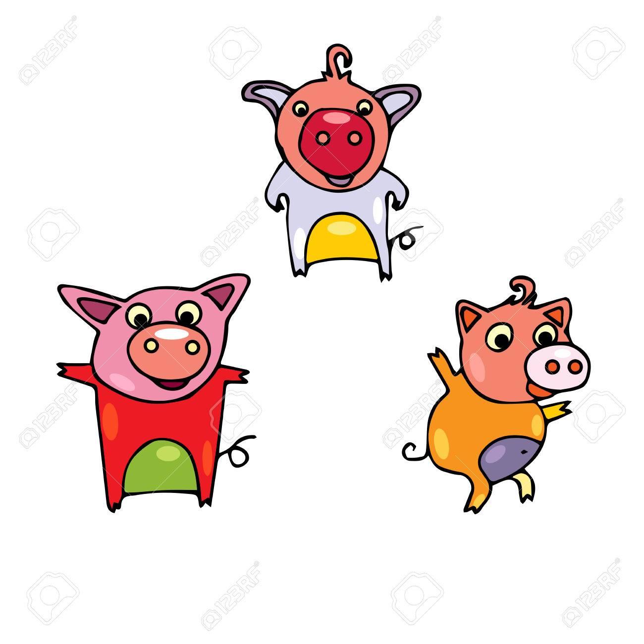 Ensemble De Cochons Mignons Peints De Différentes Couleurs. Porc Dessiné  Main Dans Le Style De Griffonnages. Sangliers Dessin Animé Avec Contour  Noir destiné Dessin De Cochon En Couleur