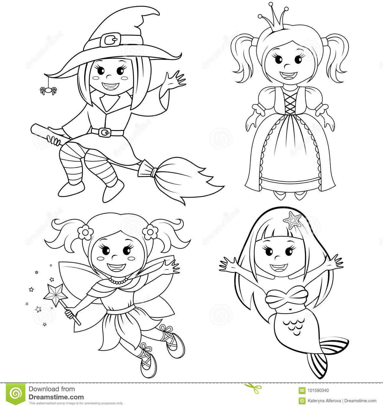 Ensemble De Filles Mignonnes De Conte De Fées Sorcière tout Coloriage Princesse Sirene