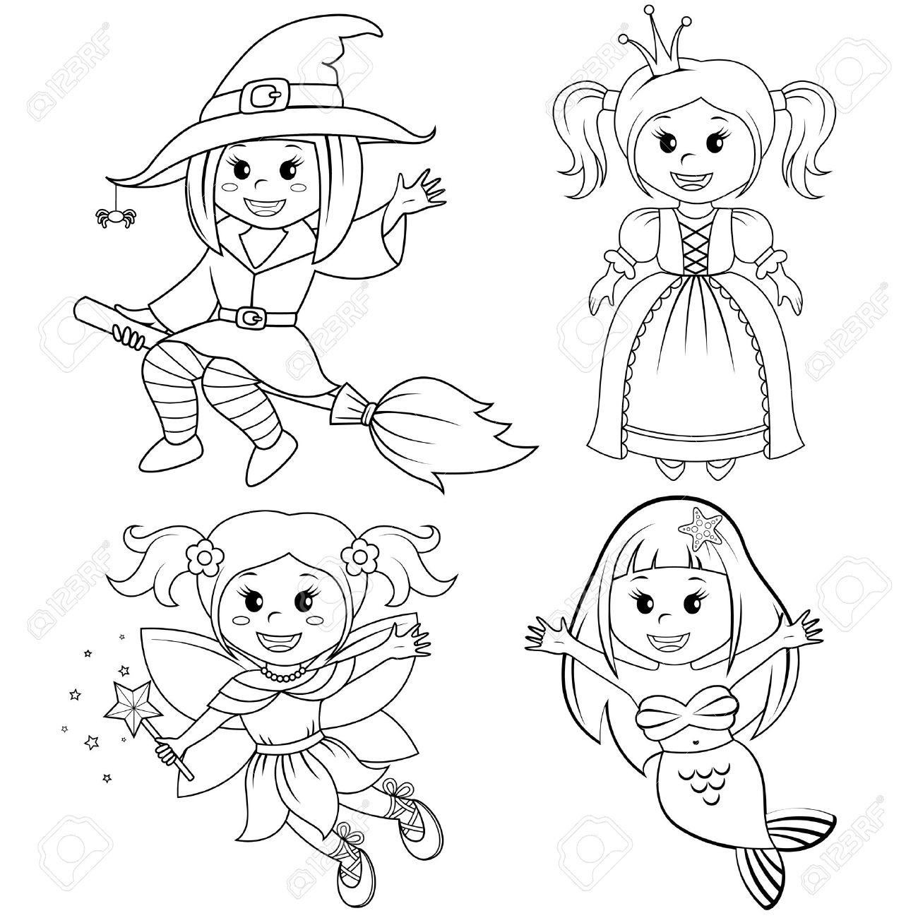 Ensemble De Jolies Filles De Conte De Fées. Sorcière De Halloween, Sirène,  Princesse Et Fée. Illustration Vectorielle En Noir Et Blanc Pour Le Livre À intérieur Coloriage Princesse Sirene