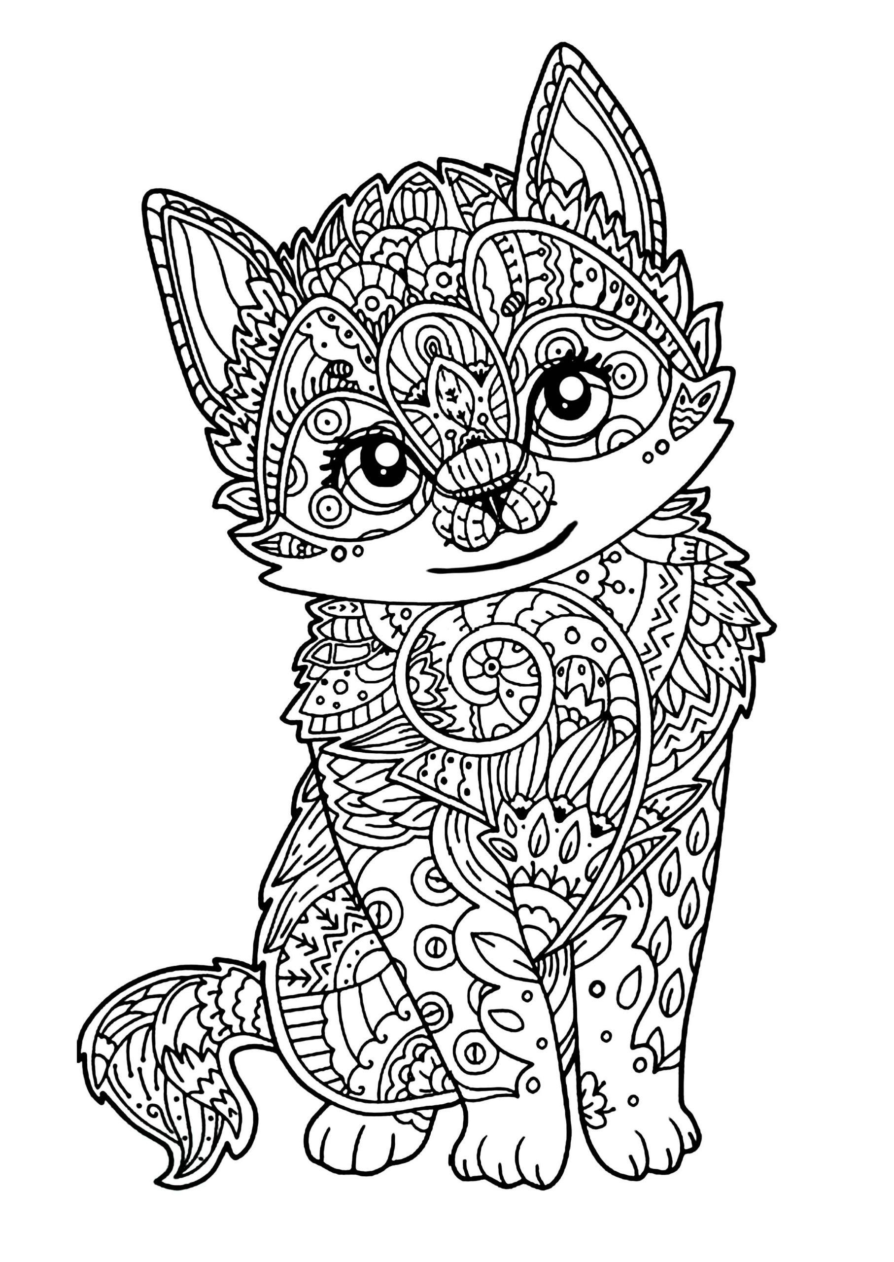 Épinglé Par Holder Sur Mandalas | Coloriage Mandala Animaux à Coloriage De Chat En Ligne