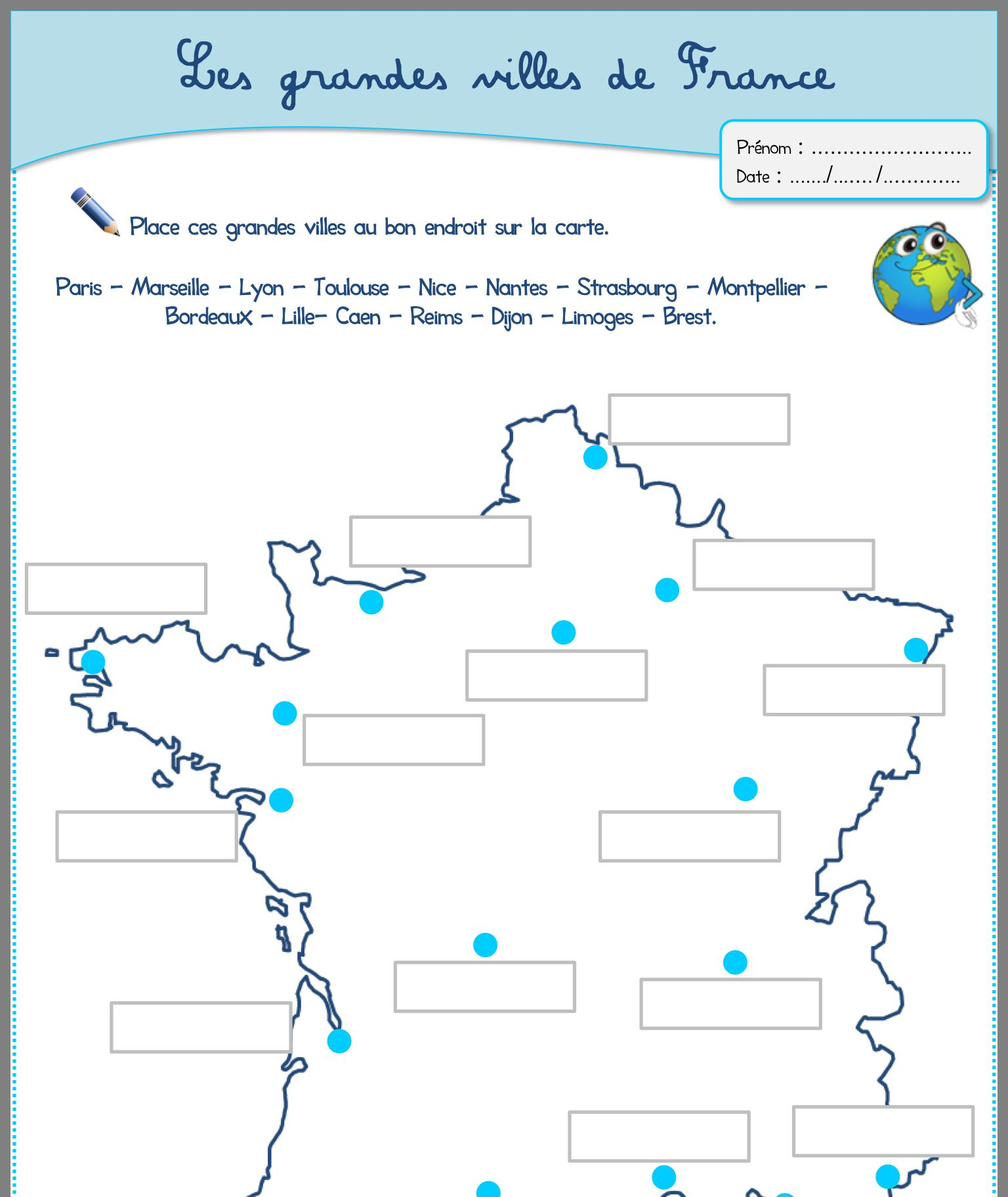 Épinglé Par Kant & Kler Sur Vakantie   Ville France concernant Carte De France Muette À Compléter