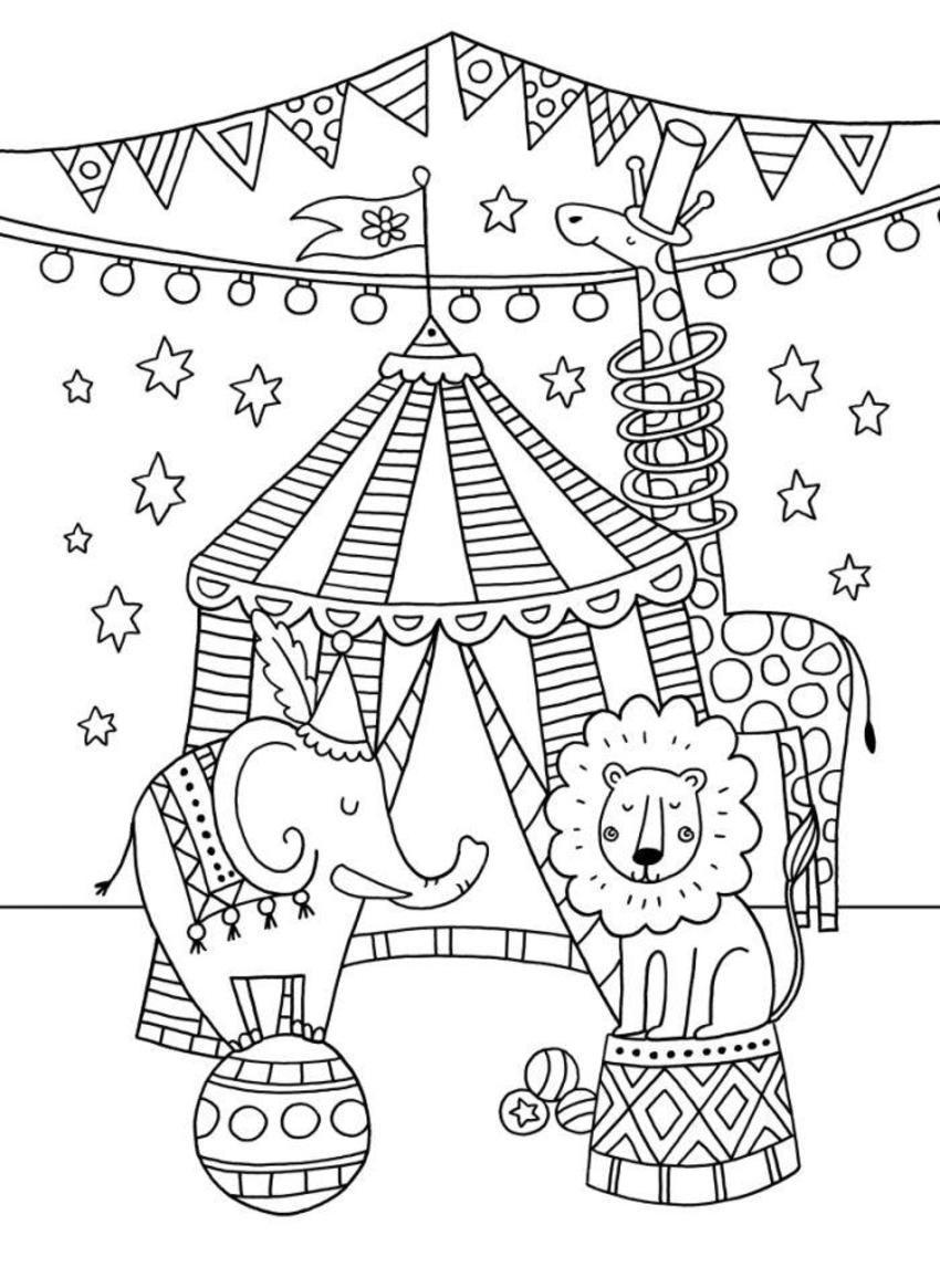 Épinglé Par Véronique Lepot Sur Cirque Maternelle | Dessin dedans Coloriage Cirque Maternelle