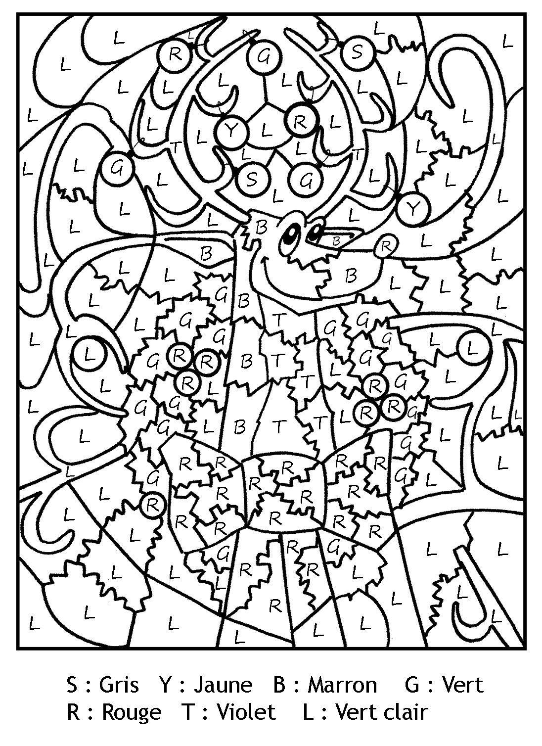 Épinglé Sur Desen-Litere,cifre dedans Coloriage Codé Noel