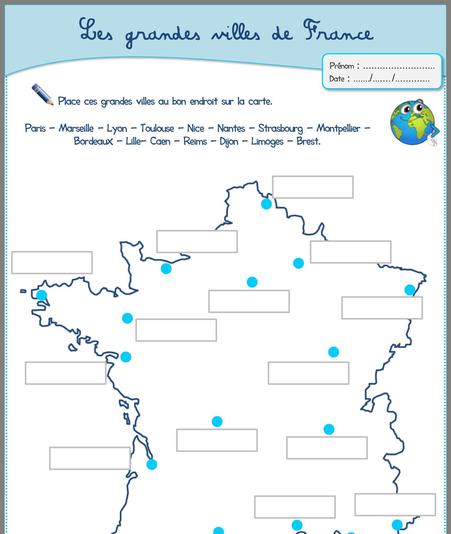 Épinglé Sur Fiche À Completer destiné Carte De France Ce2