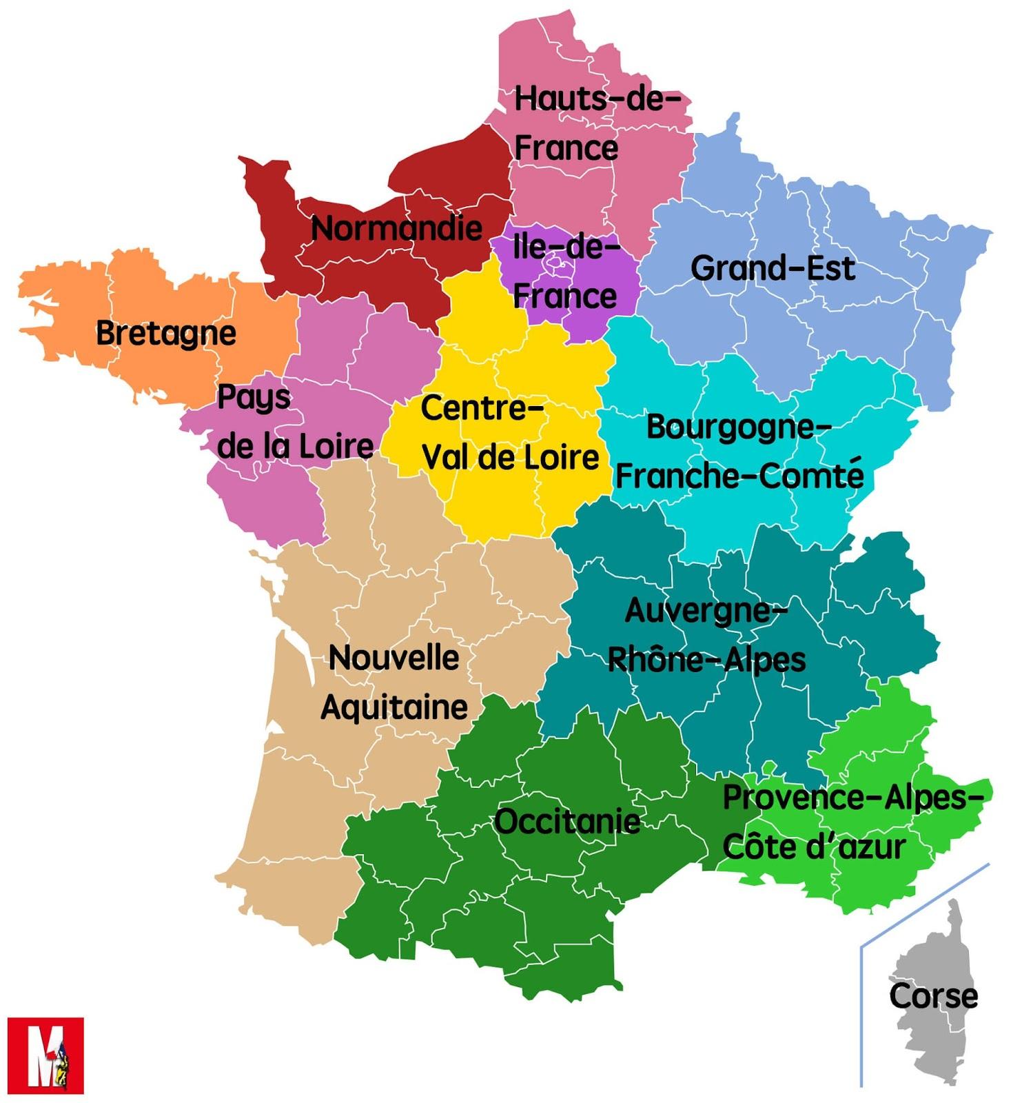 Escuelas Plurilingües Francés: Région Par Région, Nous avec Les 22 Régions De France Métropolitaine