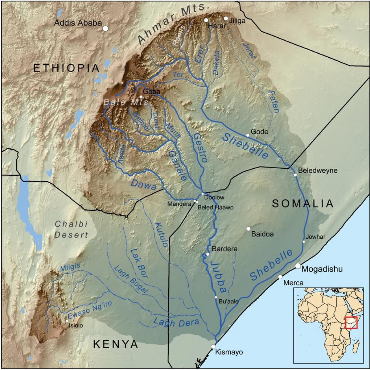 Ethiopian Rivières De La Carte - La Carte Des Fleuves De L serapportantà Carte Des Fleuves
