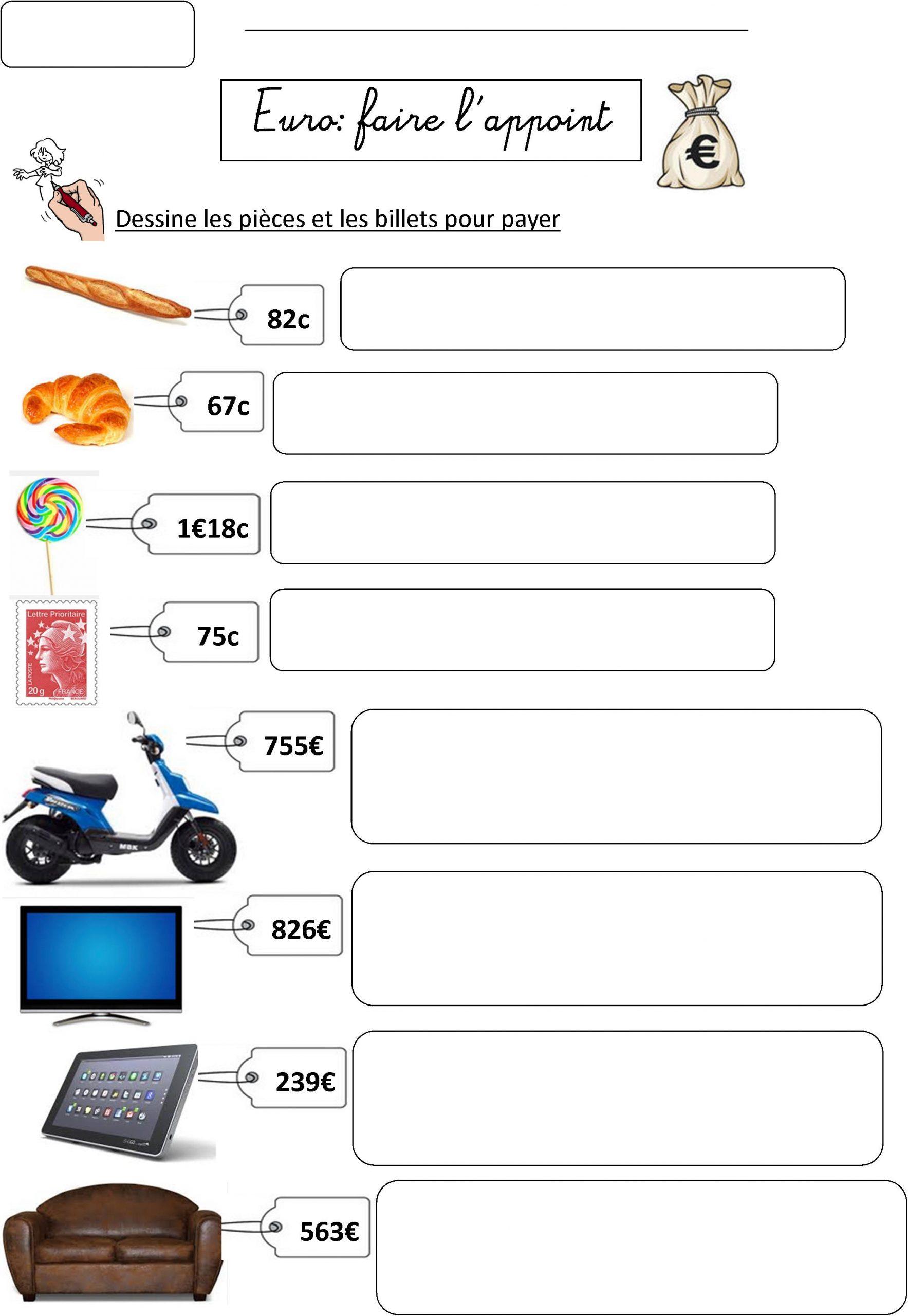 Euro Ce2 | Le Blog De Monsieur Mathieu tout Exercice De Ce2 Gratuit